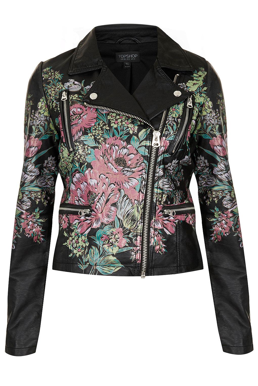 Topshop Printed Floral Biker Jacket In Black Pink Lyst