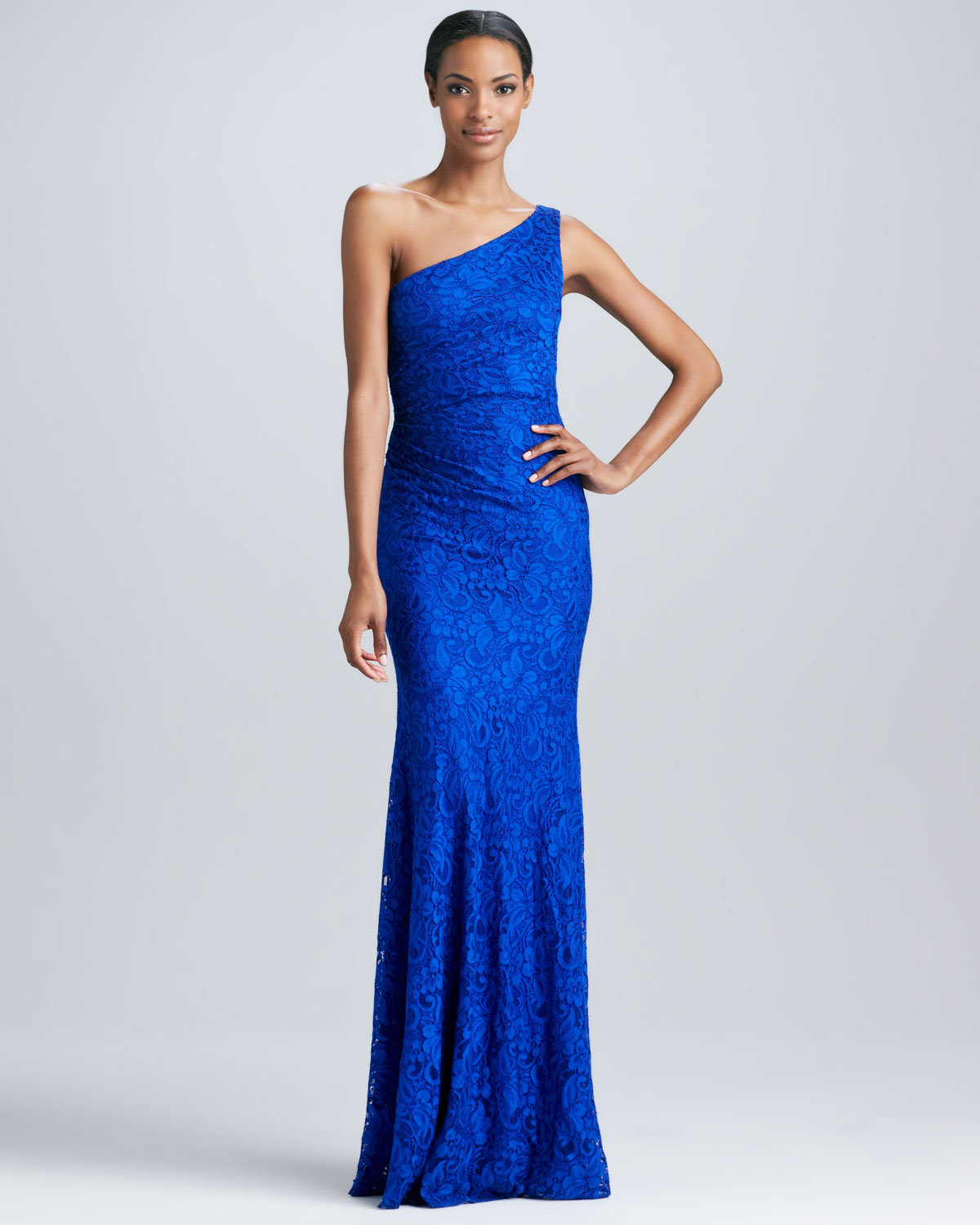 David meister One-Shoulder Lace Gown in Blue | Lyst