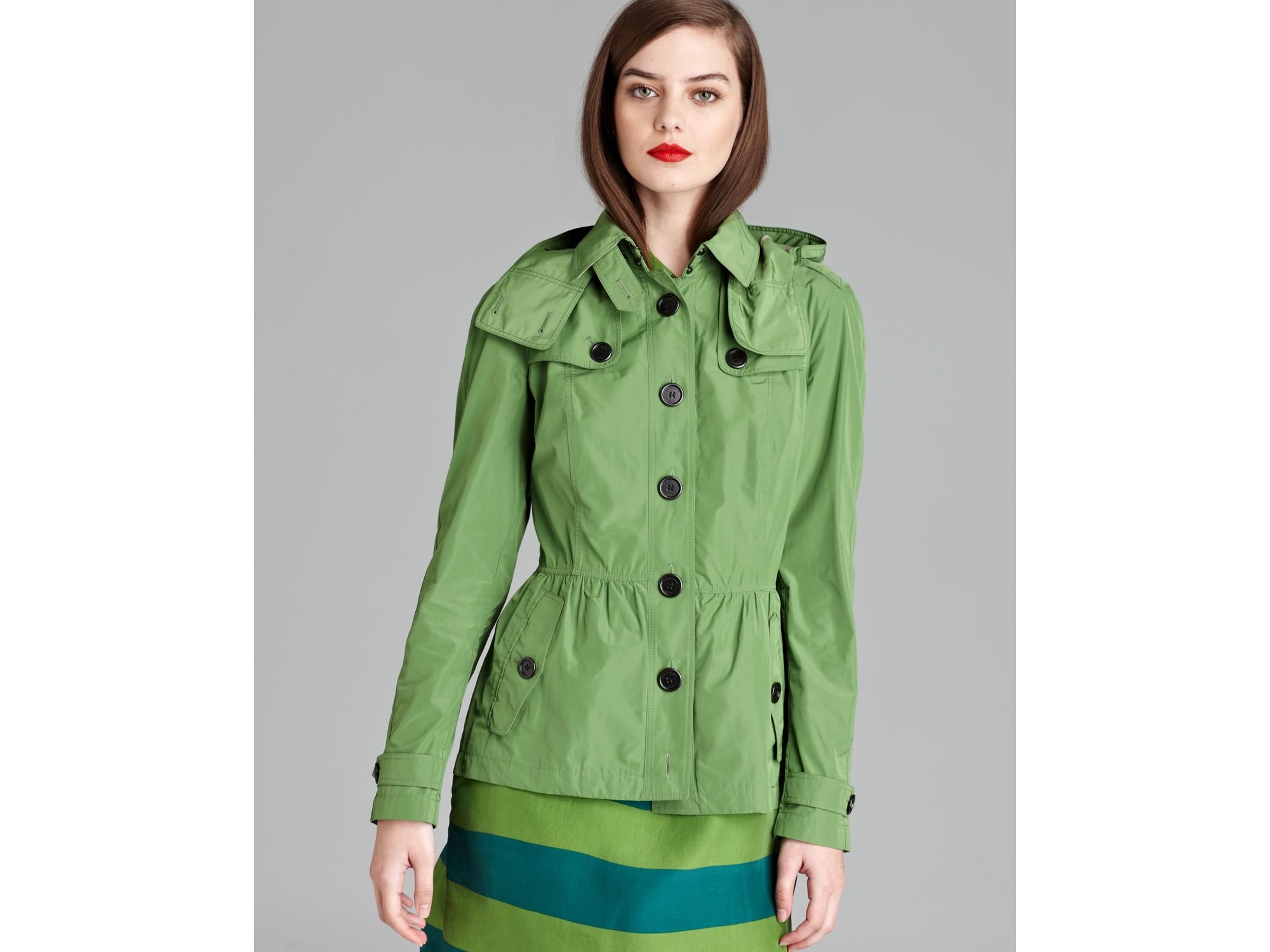 Burberry Brit Fordleigh Cropped Anorak In Green Lyst