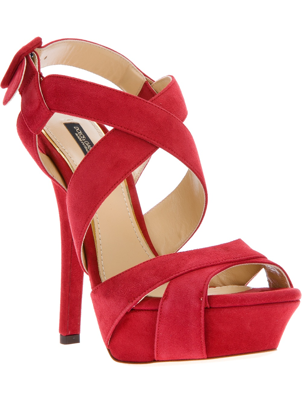 Dolce Amp Gabbana Strappy Sandal In Red Lyst