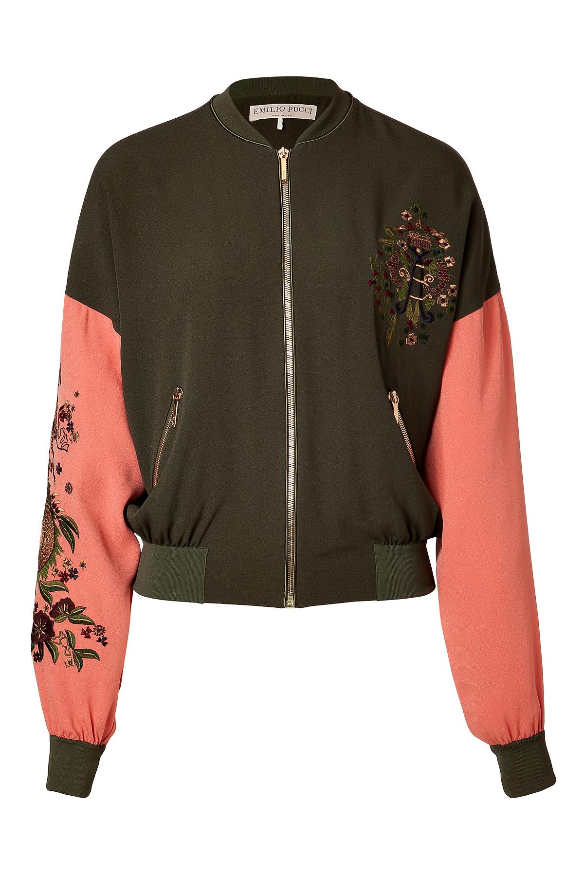da6521d3a174 Lyst - Emilio Pucci Khakicoral Embroidered Silk Bomber Jacket