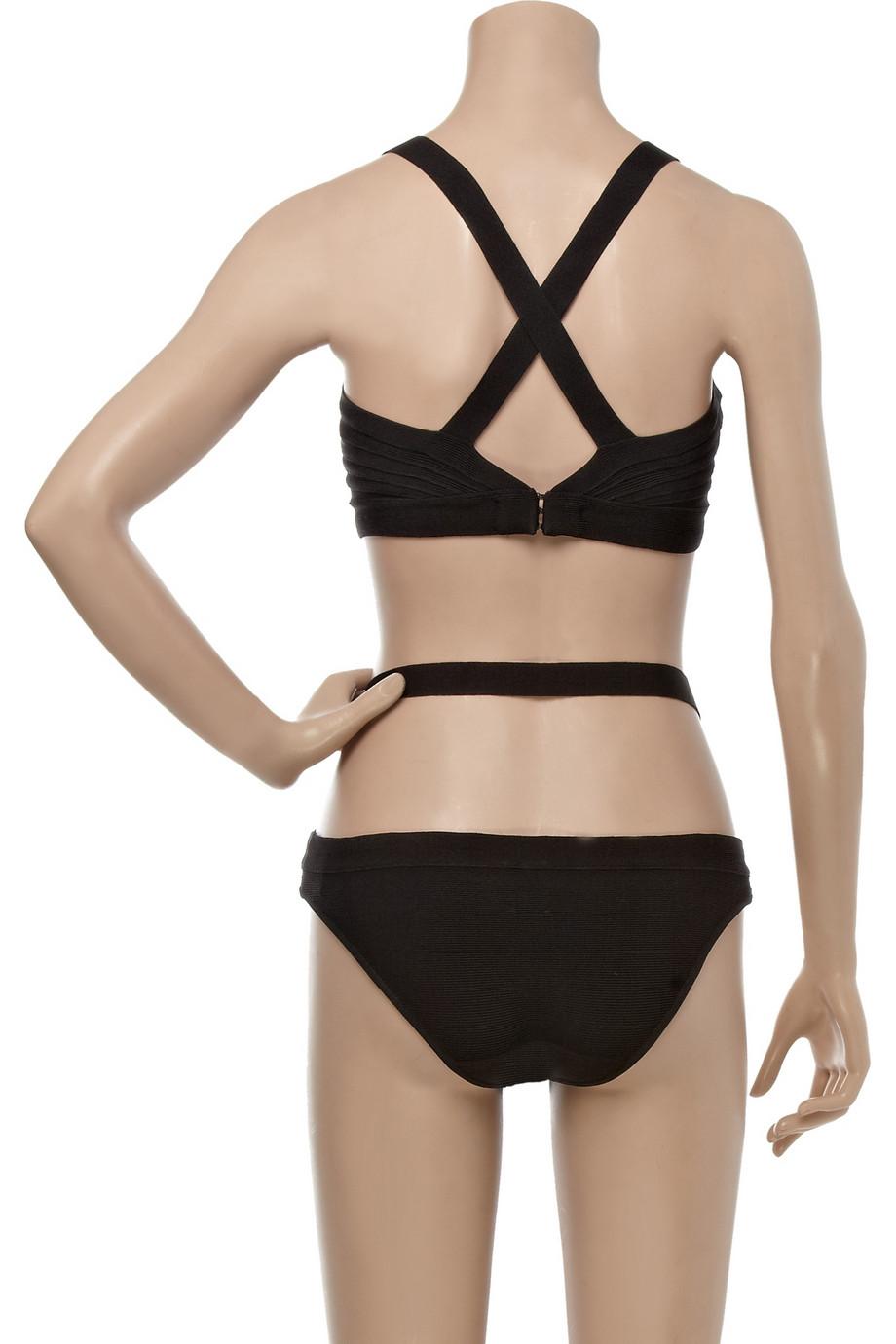 Lyst Herv 233 L 233 Ger Martine Cutout Bandage Sunsuit In Black