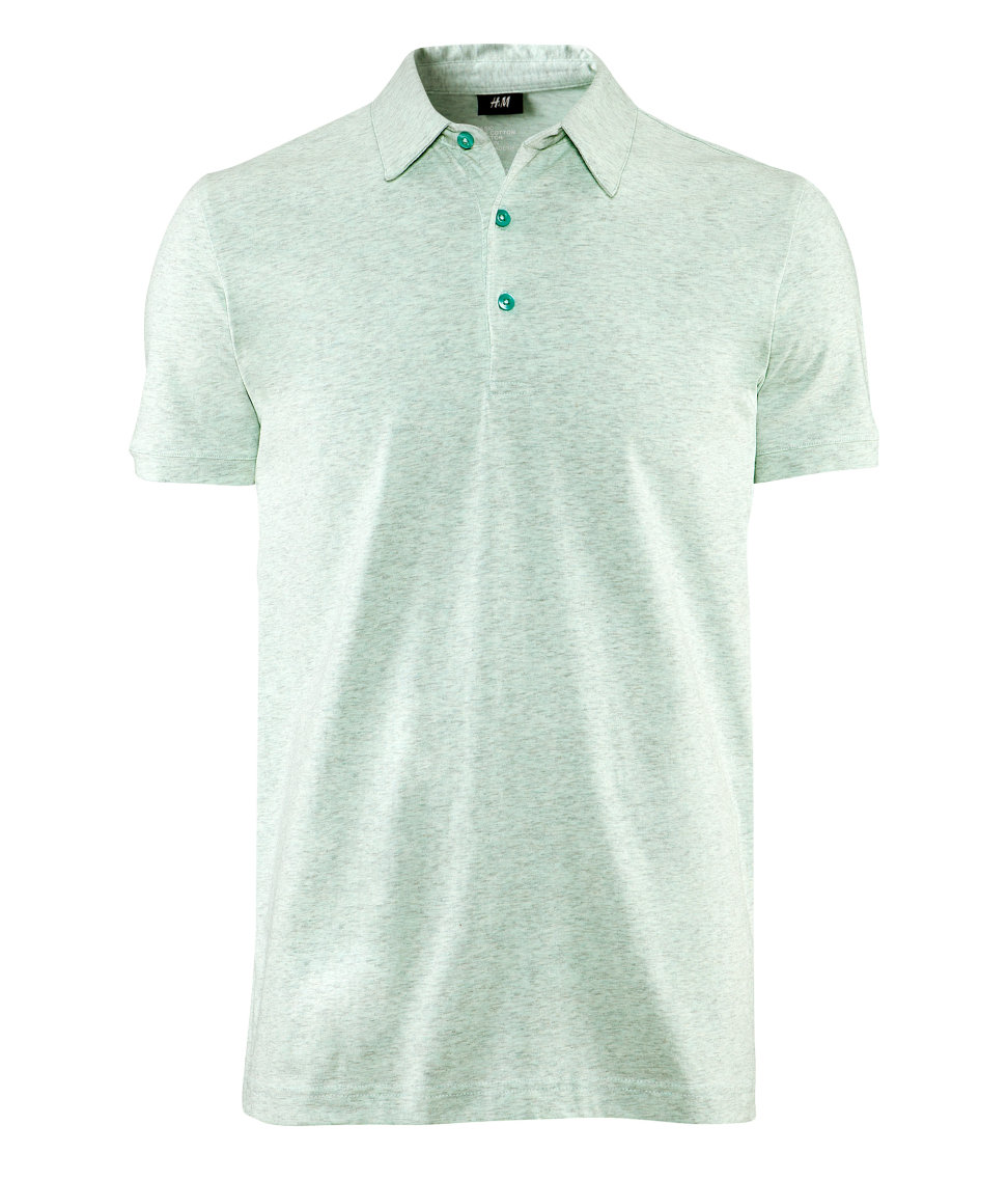H m polo shirt in green for men mint lyst for Mint color polo shirt