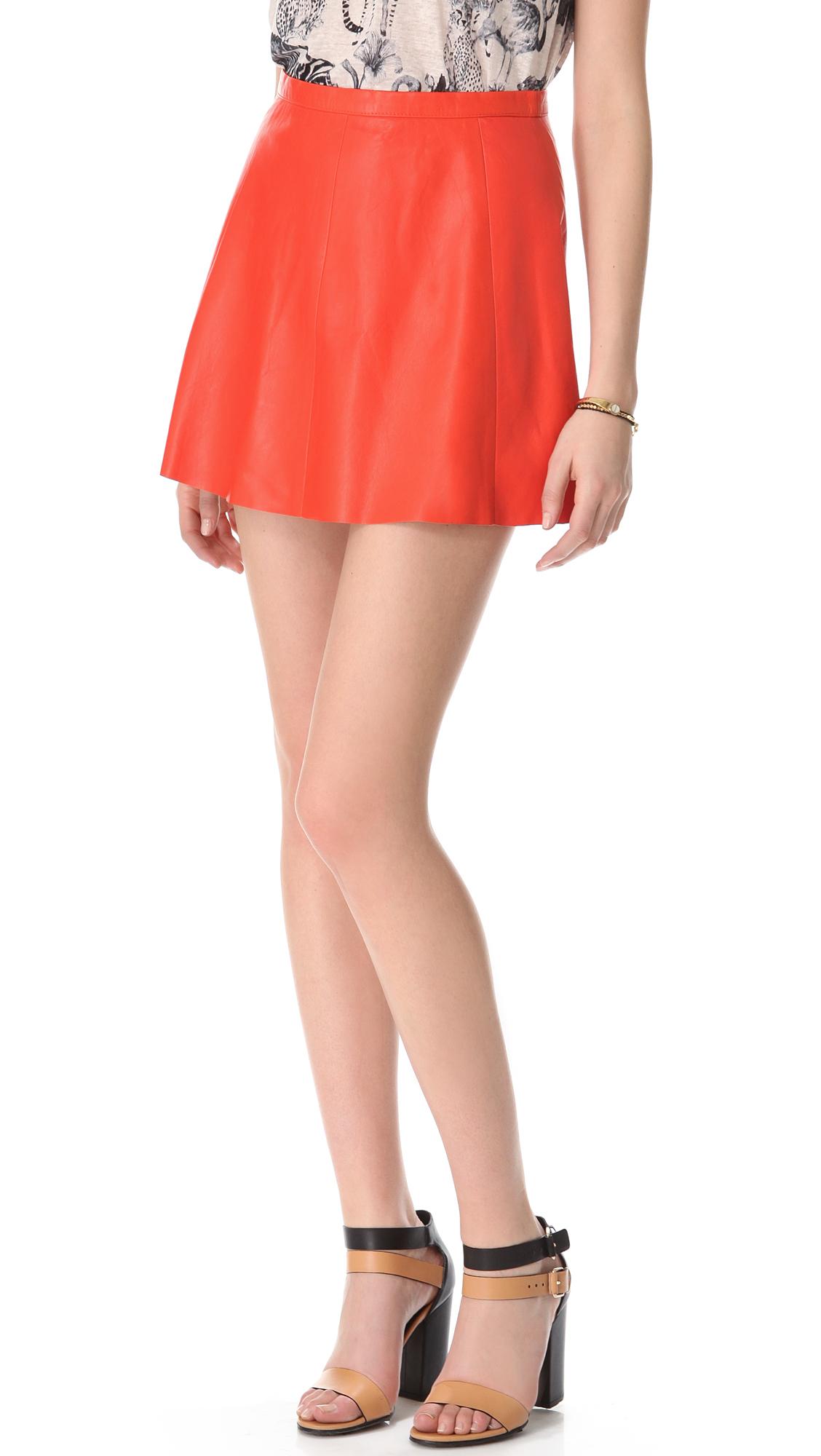 leather starburst a line mini skirt in starburst