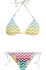 Missoni Crochet knit Printed Reversible Triangle Bikini