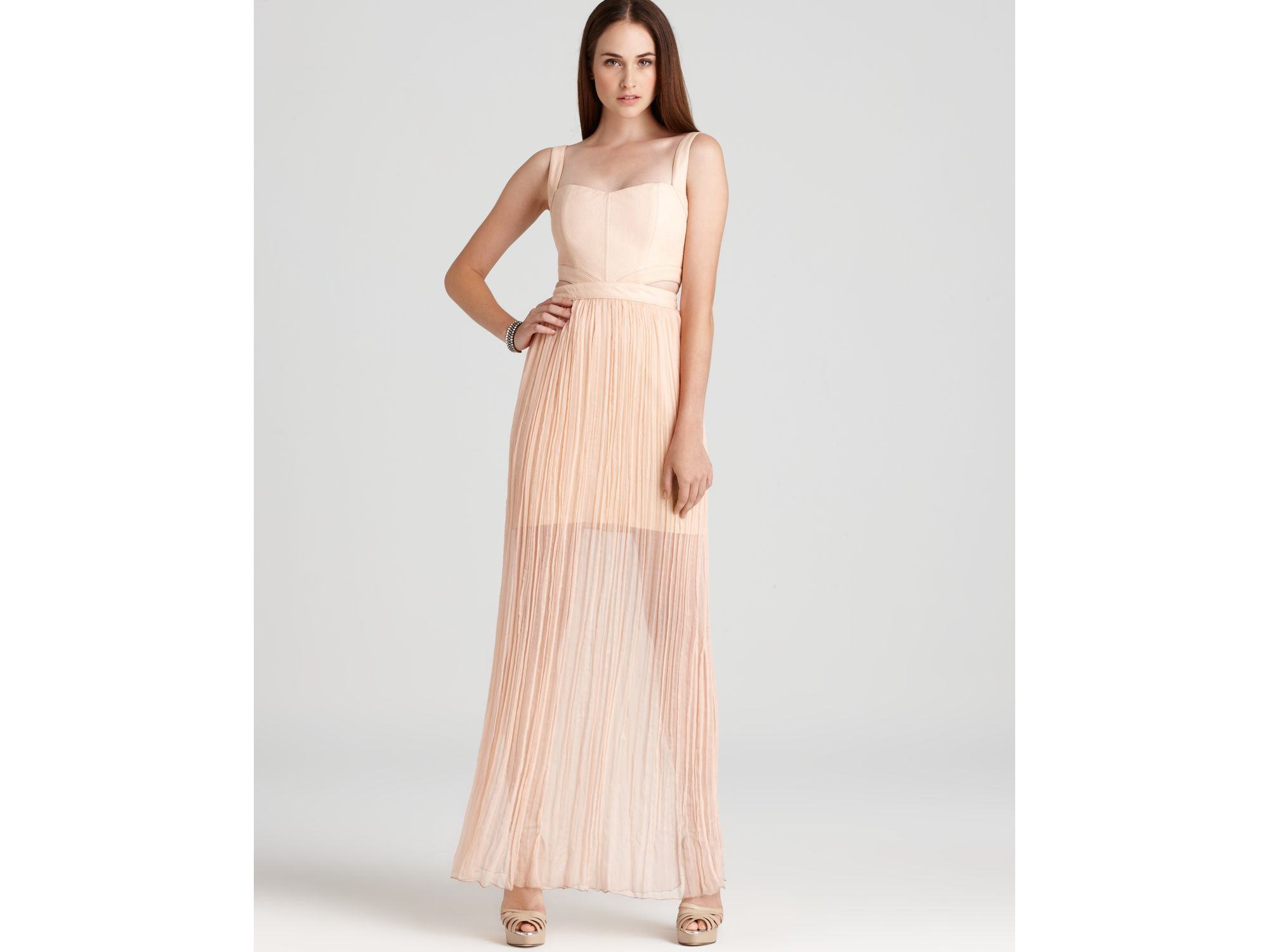 Alice Olivia Dress Sweetheart Cutout In Pale Peach Pink