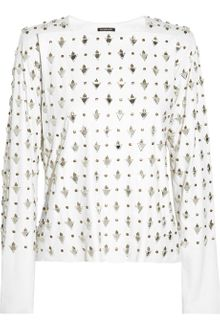 Balmain Embellished Leather Top - Lyst