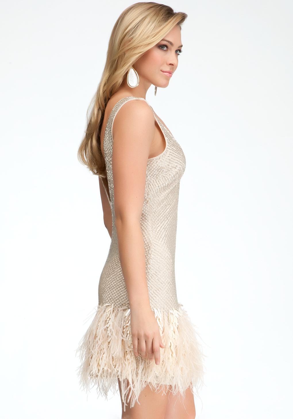 Bebe Feather Trim Sequin Studded Dress Bebeblack In
