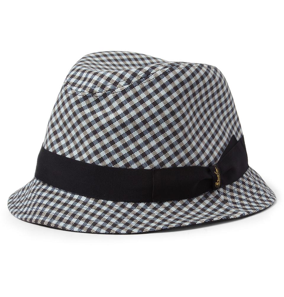 6c32507aafa Lyst - Borsalino Check Cotton Trilby Hat in Blue for Men