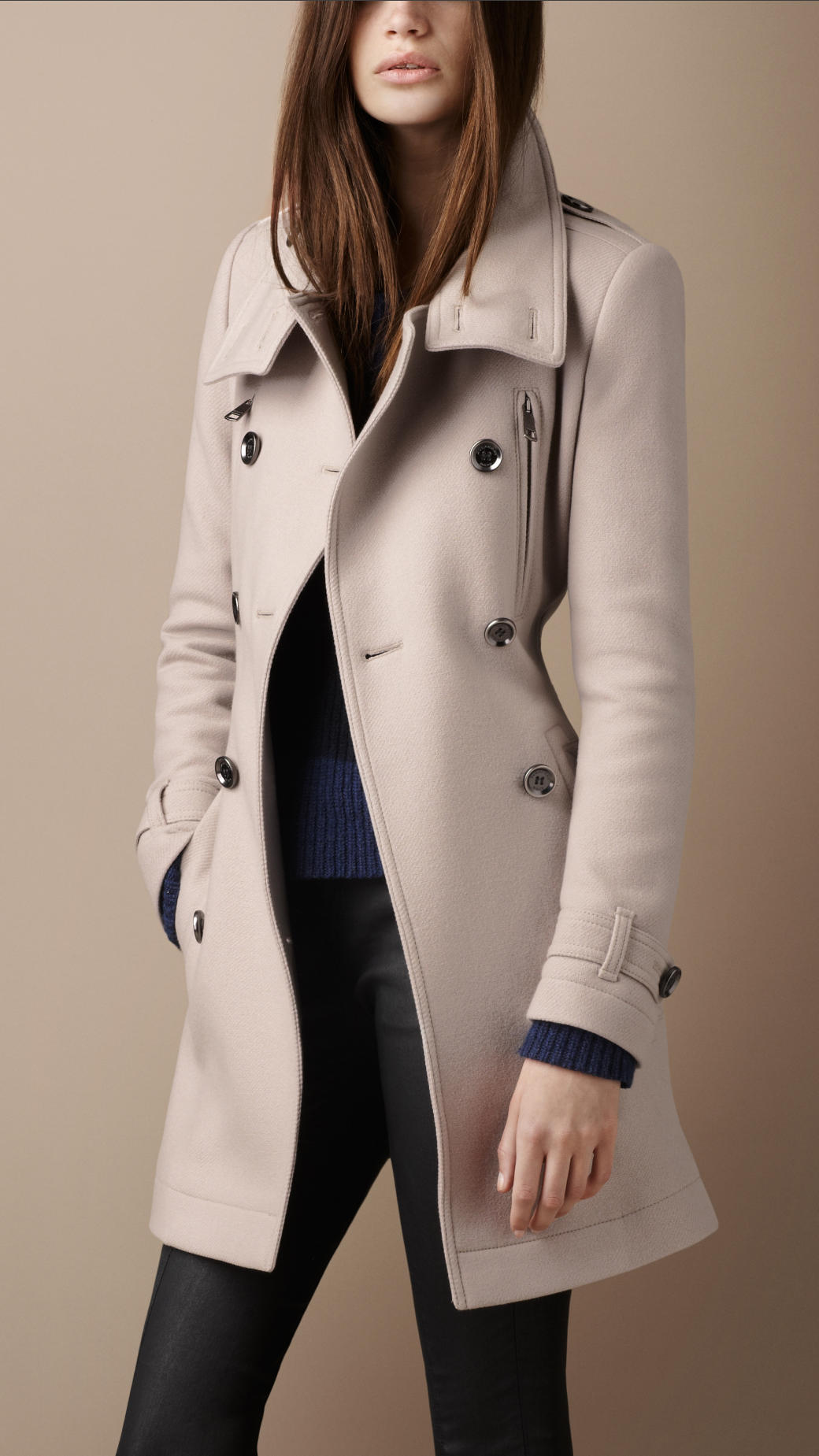 Lyst Burberry Brit Funnel Neck Wool Coat In Natural