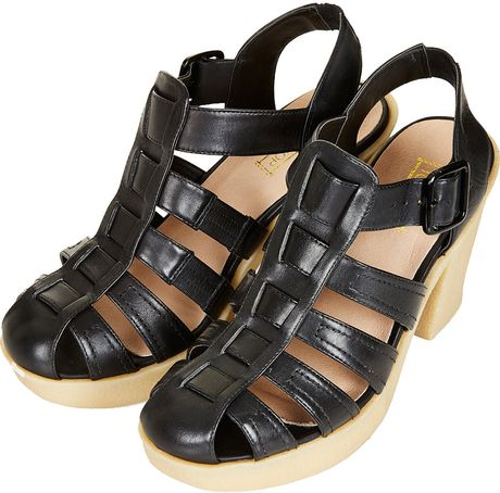 Topshop Gladiator Rubber Sole Sandals In Black Lyst