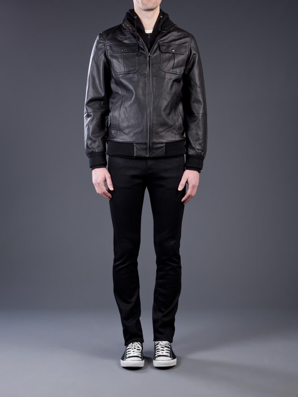 Obey Rapture Faux Leather Jacket in Black for Men