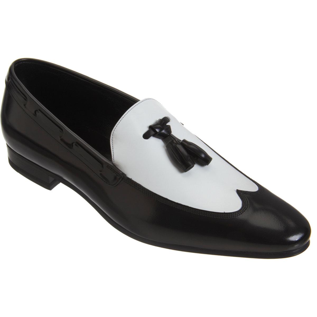 4151d5a3c5cf4 Saint Laurent Bicolor Wingtip Tassel Loafer in Black for Men - Lyst