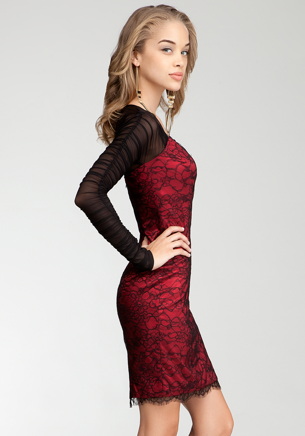 Lyst Bebe Lace Body Contrast Sleeve Dress In Red