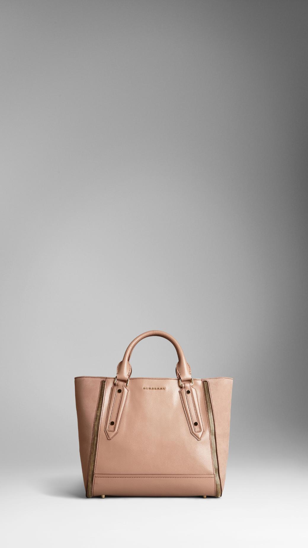 Burberry Medium London Leather Zip Detail Tote Bag in . f6f2c1e751a7e