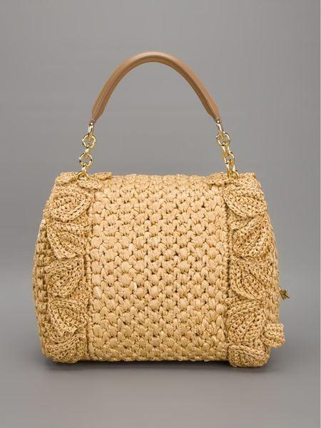 Dolce & Gabbana Sicily Raffia Handbag in Beige (camel) - Lyst