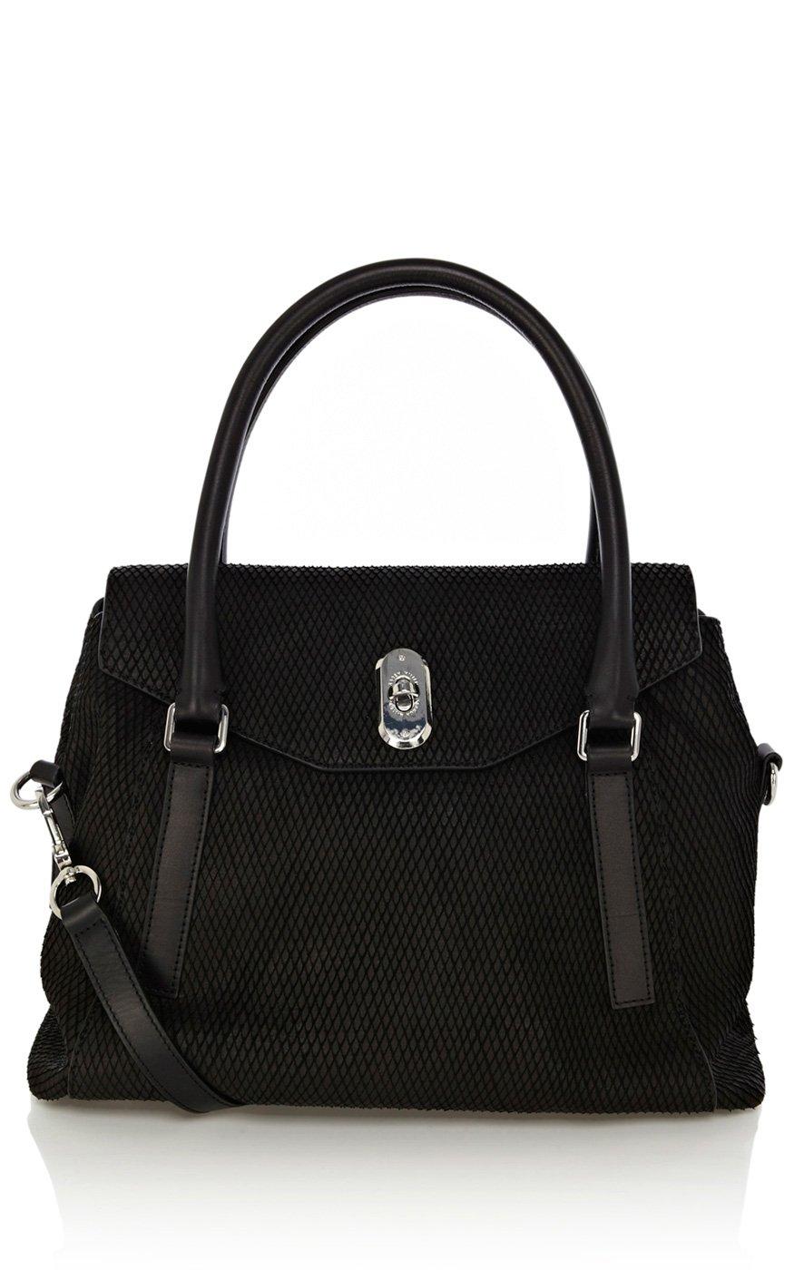 Karen Millen Textured Snake Leather Box Bag In Black
