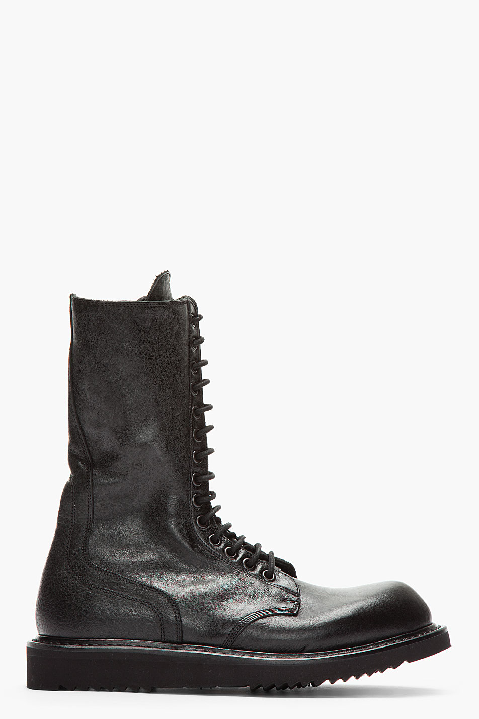 rick owens black laceup army combat boots in black for