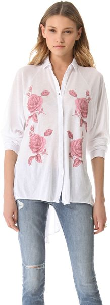 Wildfox Sunday Button Down Shirt in White