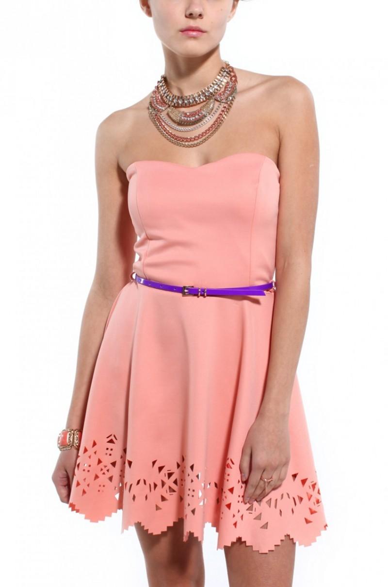 Akira Strapless Laser Cut Mini Dress in Pink (peach) | Lyst