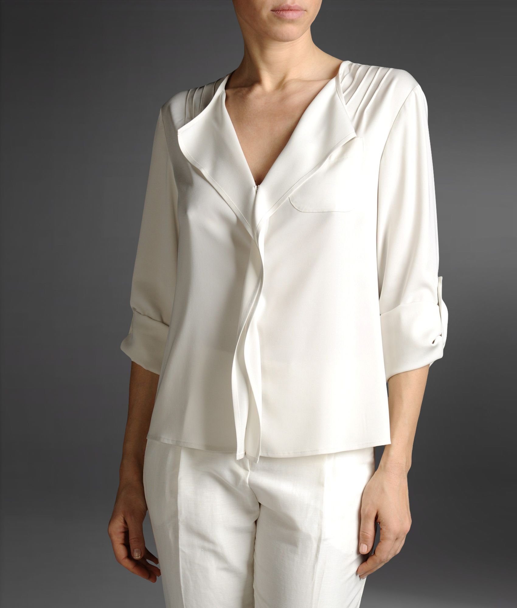 Armani Long Sleeve Shirt In White Light Grey Lyst