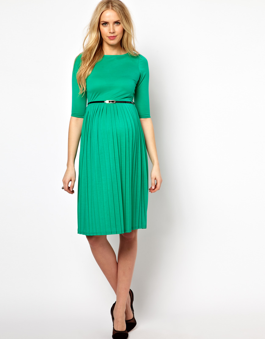 Lyst - Asos Maternity Midi Dress with Pleated Skirt in Green