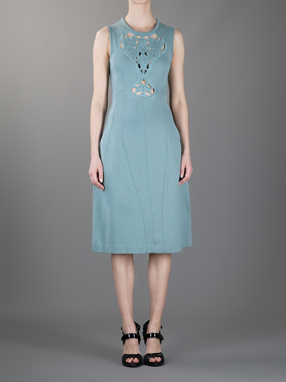 Carven Cut Out Embroidered Dress In Blue Lyst