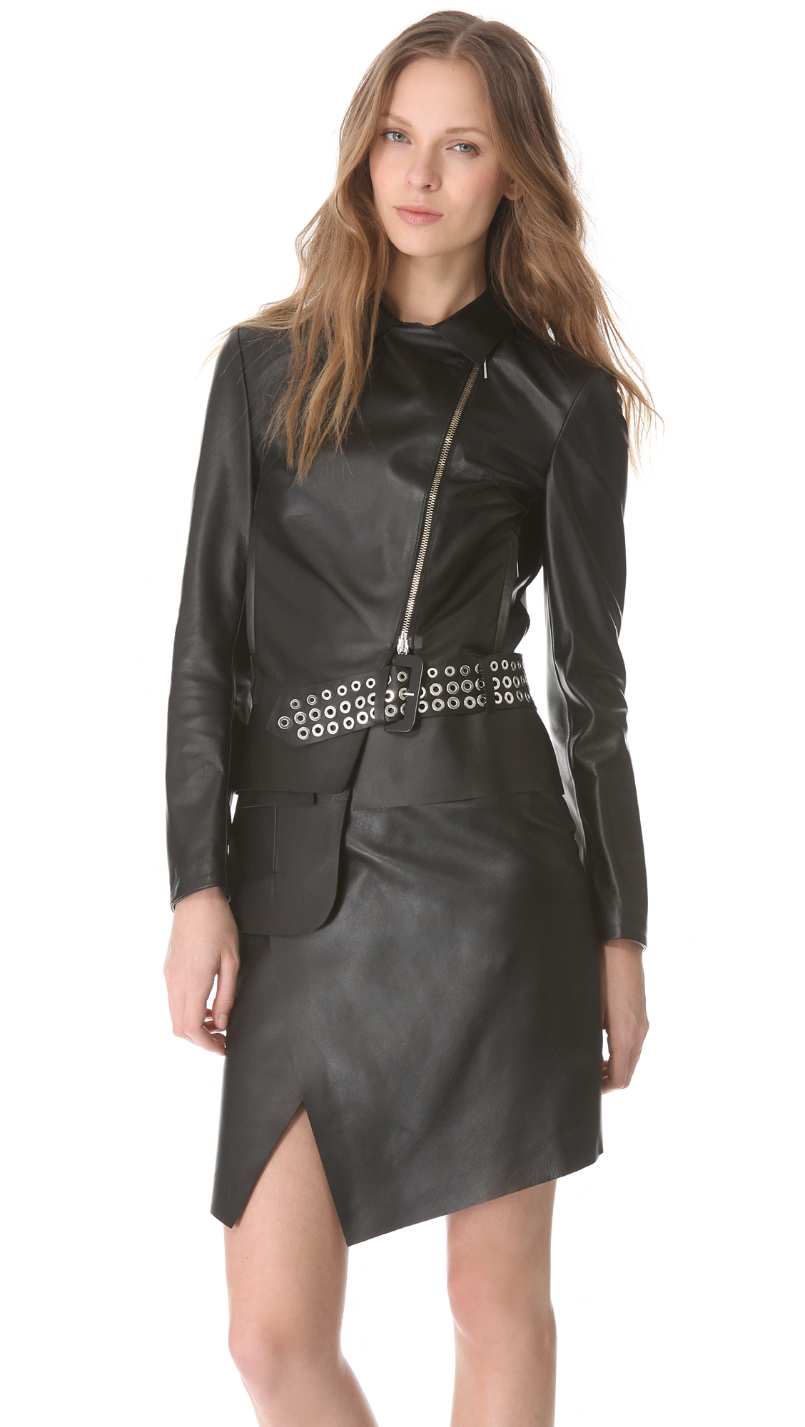 costume national leather jacket with belt detail in black