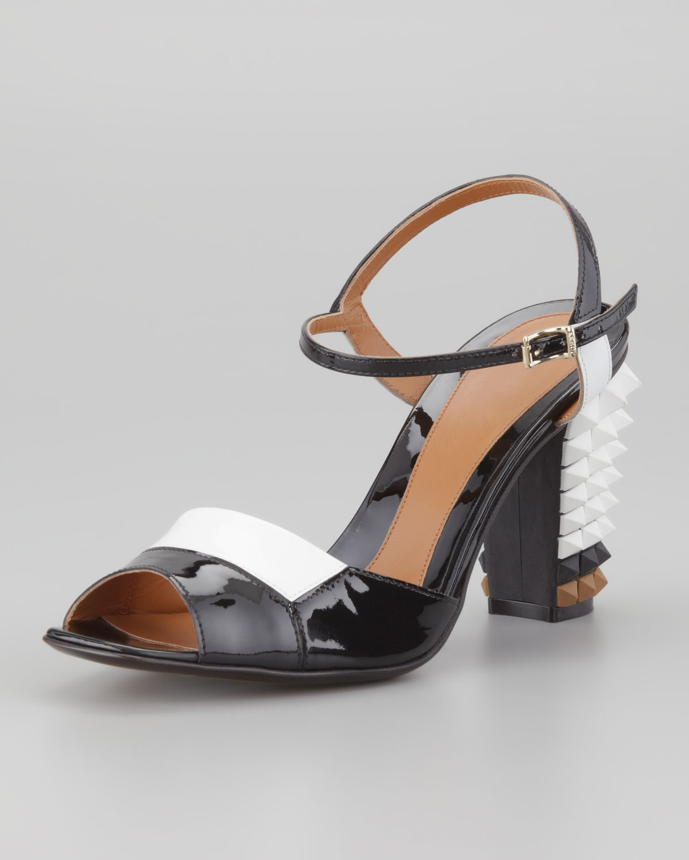 Fendi Patent Pyramid Stud Heel Sandal In Grey White White