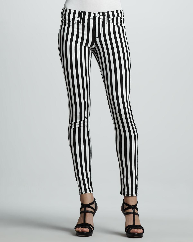 Hudson jeans Kristy Striped Skinny Jeans in Black | Lyst