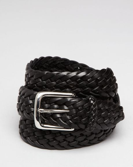 ralph polo continental braided leather belt in