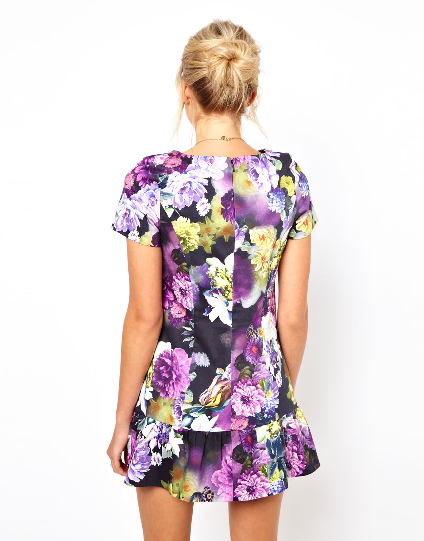 asos floral mini dress with ultra drop waist in purple lyst