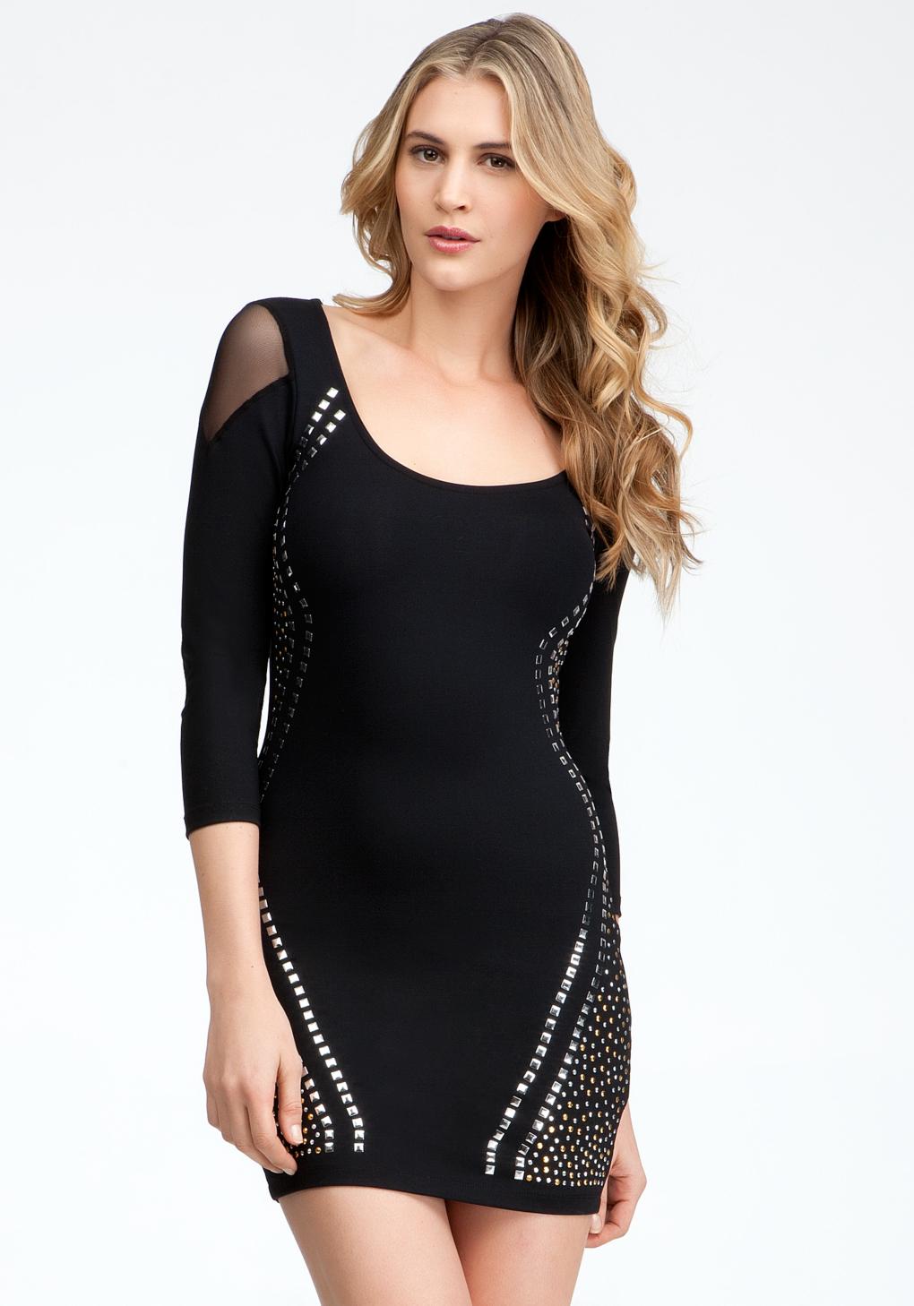Bebe Studded Mid Sleeve Dress In Black Lyst