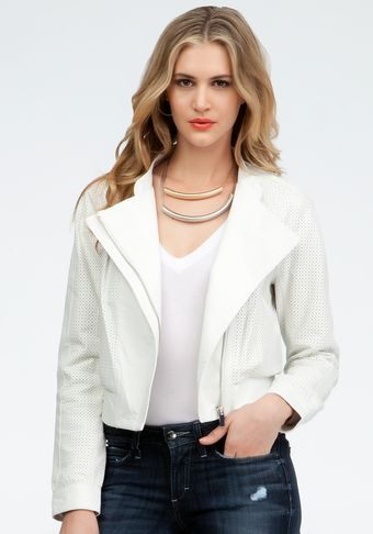 Bebe Perforated Contrast Leather Bomber Jacket - Lyst