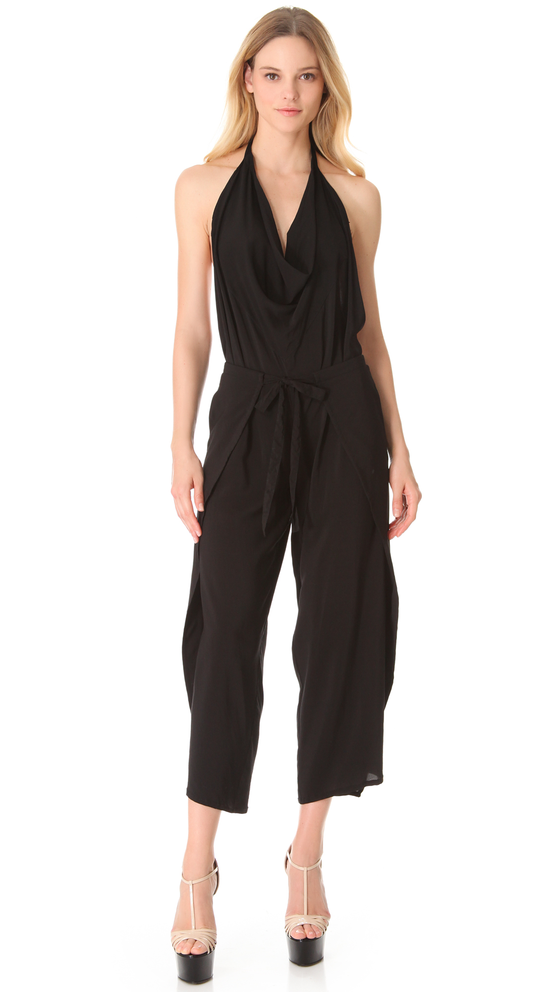 Donna karan new york halter wrap jumpsuit in black lyst for Donna karen new york