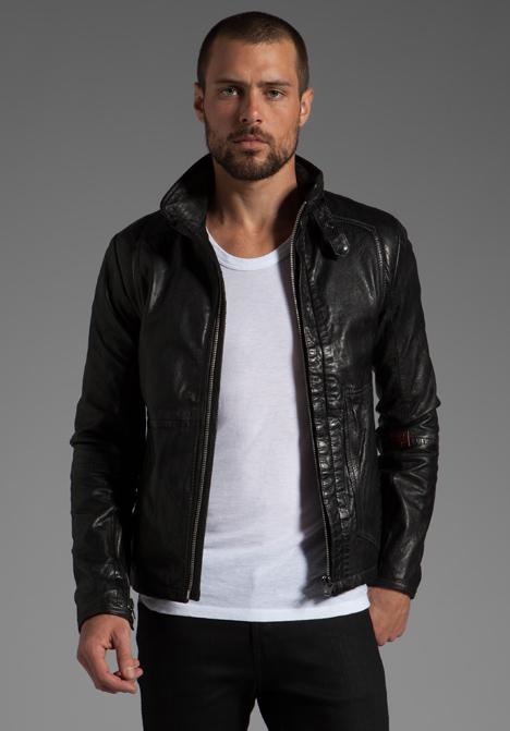 g star raw rco brando leather jacket in black for men lyst. Black Bedroom Furniture Sets. Home Design Ideas