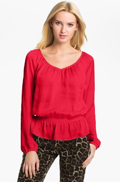 Michael michael kors peplum hem peasant top in red start of color
