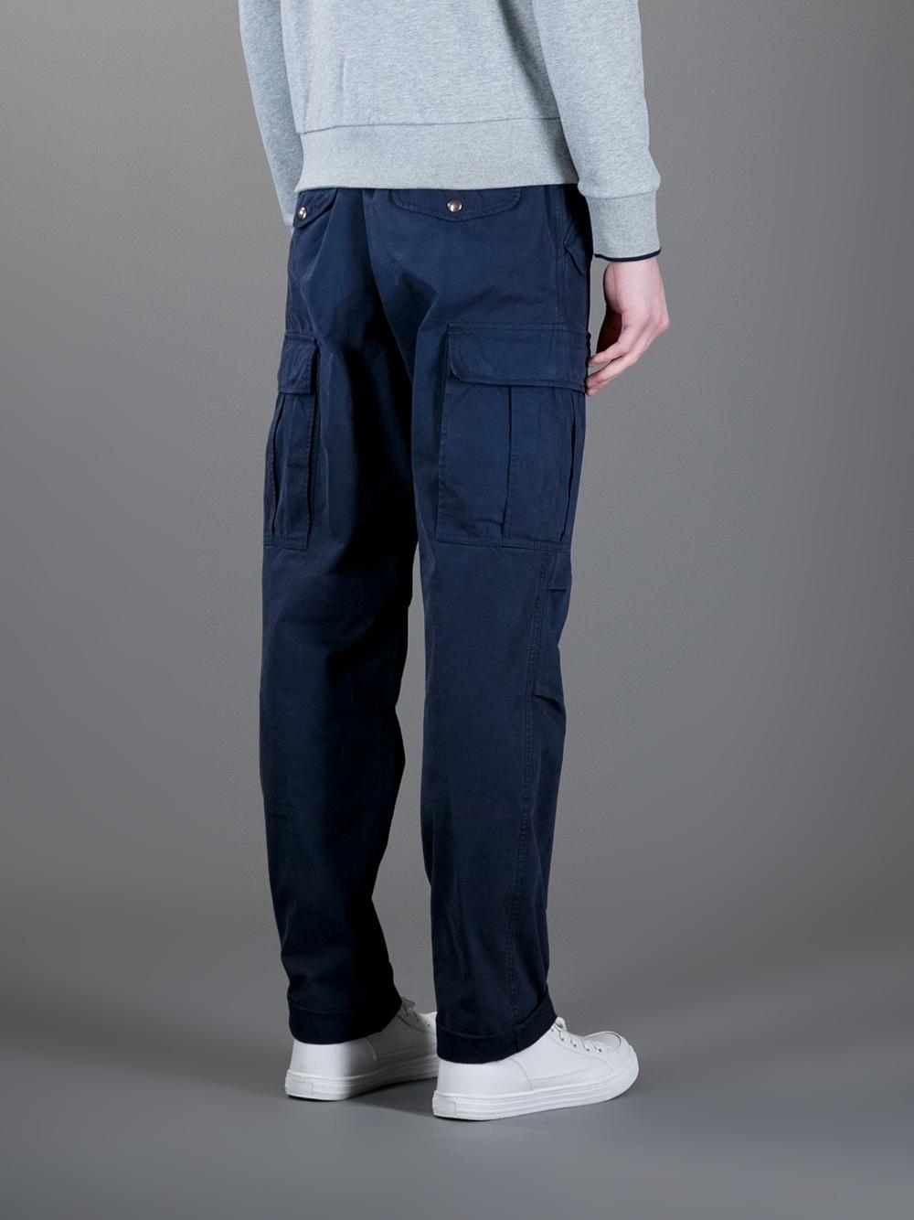 Moncler Straight Leg Cargo Trouser in Navy (Blue) for Men