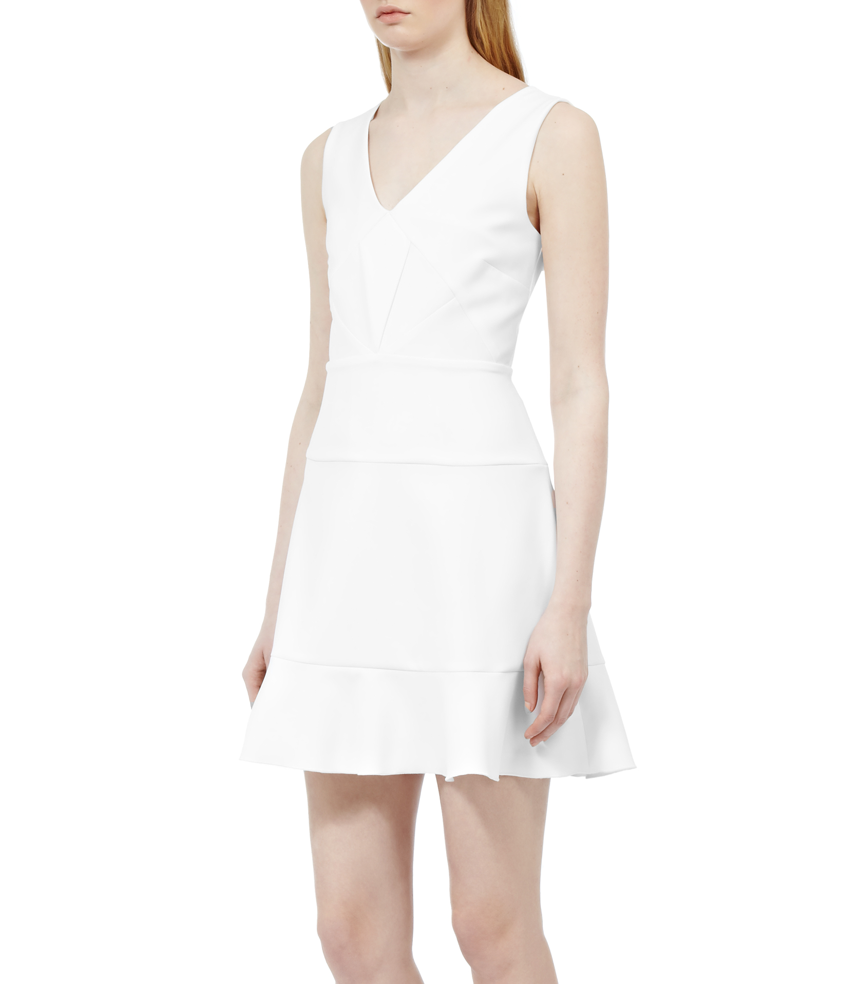 Reiss Lola Quilted Fit And Flare Dress In White Lyst