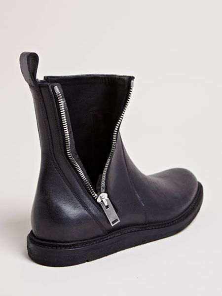 rick owens mens brushed leather boots in for black