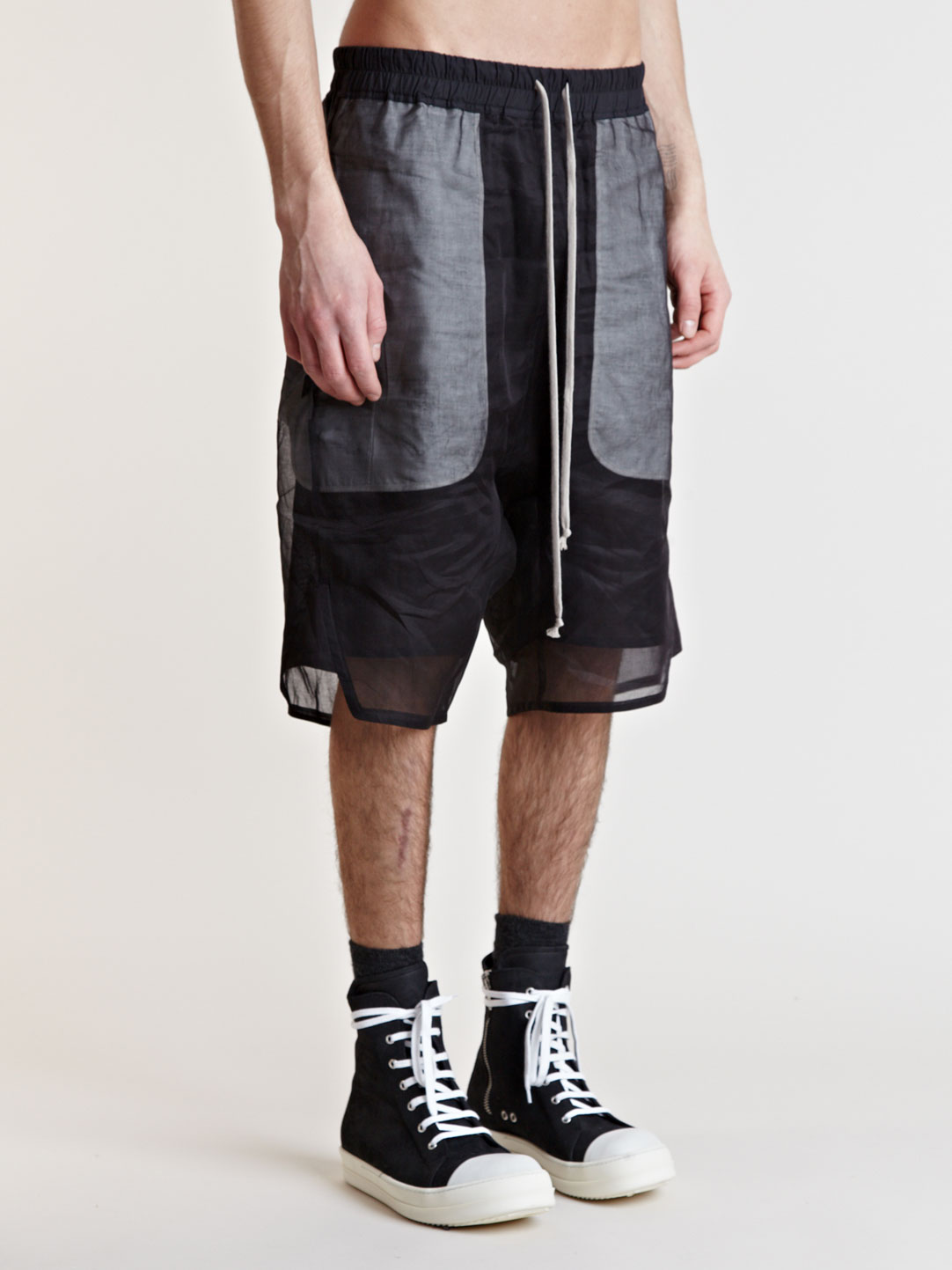 Rick Owens Double Layer Shorts In Black For Men Lyst