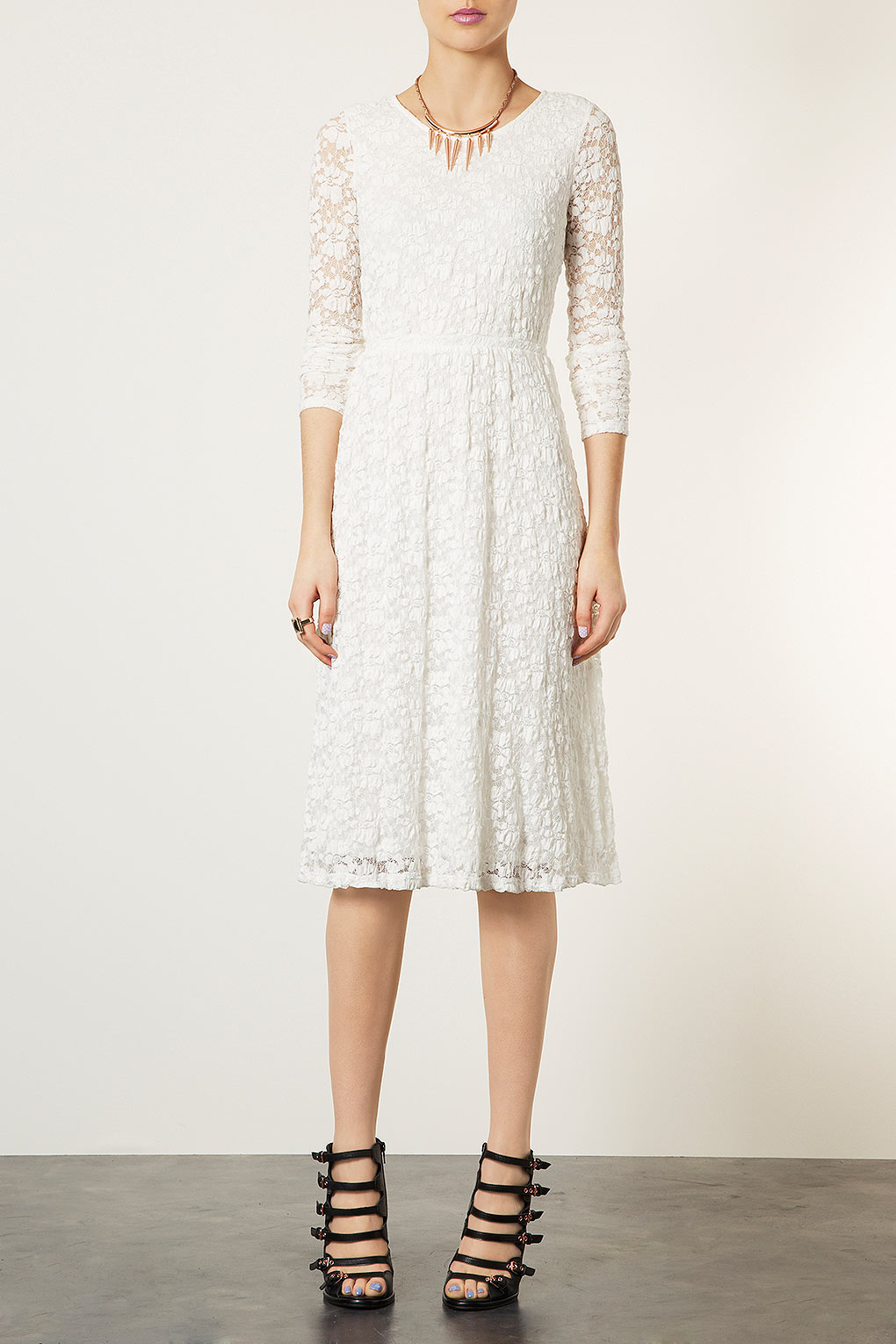 Topshop Lace Midi Dress In White Lyst