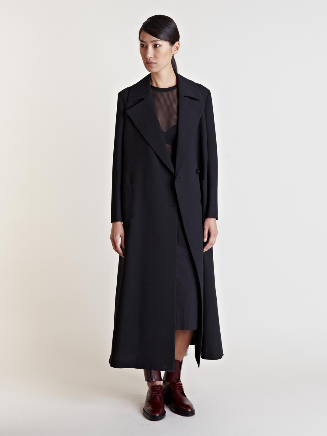 Yang li Womens Flag Detail Long Coat in Black | Lyst