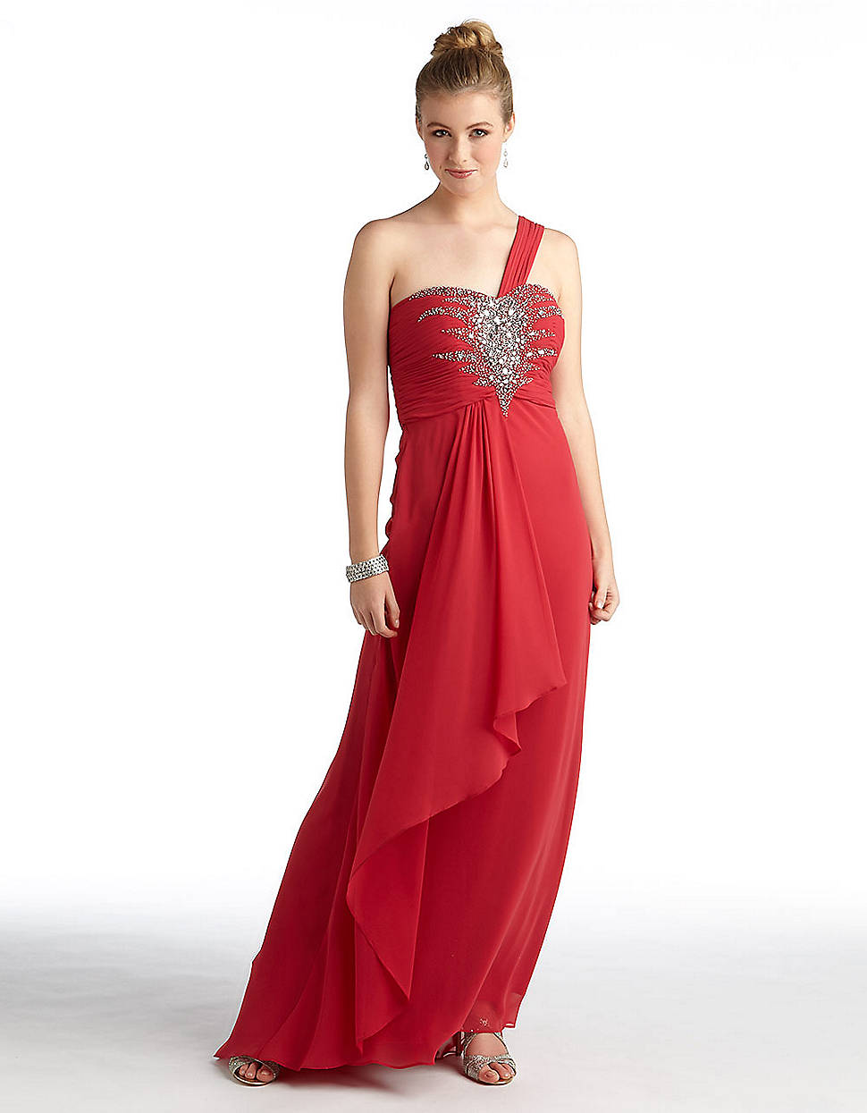 Betsy Amp Adam One Shoulder Chiffon Gown In Red Lyst