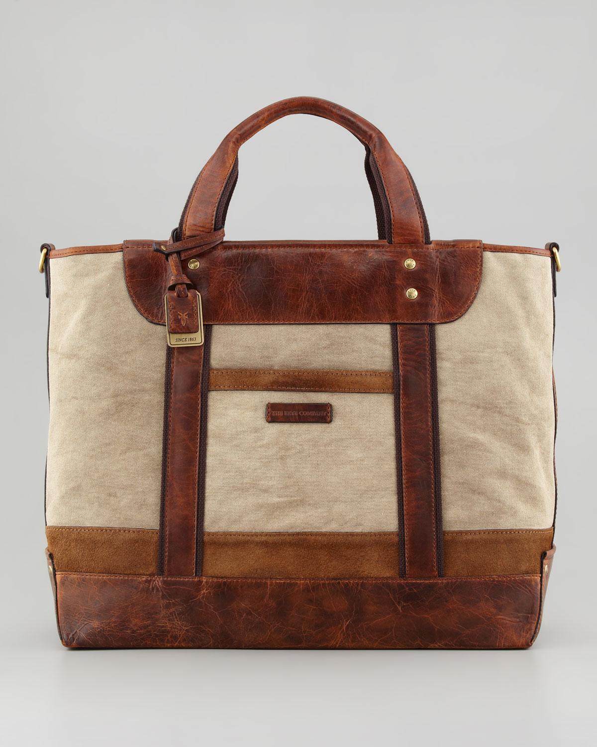 Frye Harvey Canvas leather Tote Bag in Brown | Lyst