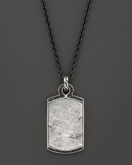 John Hardy Mens Classic Chain Silver Batu Dog Tag Pendant with Meteorite and