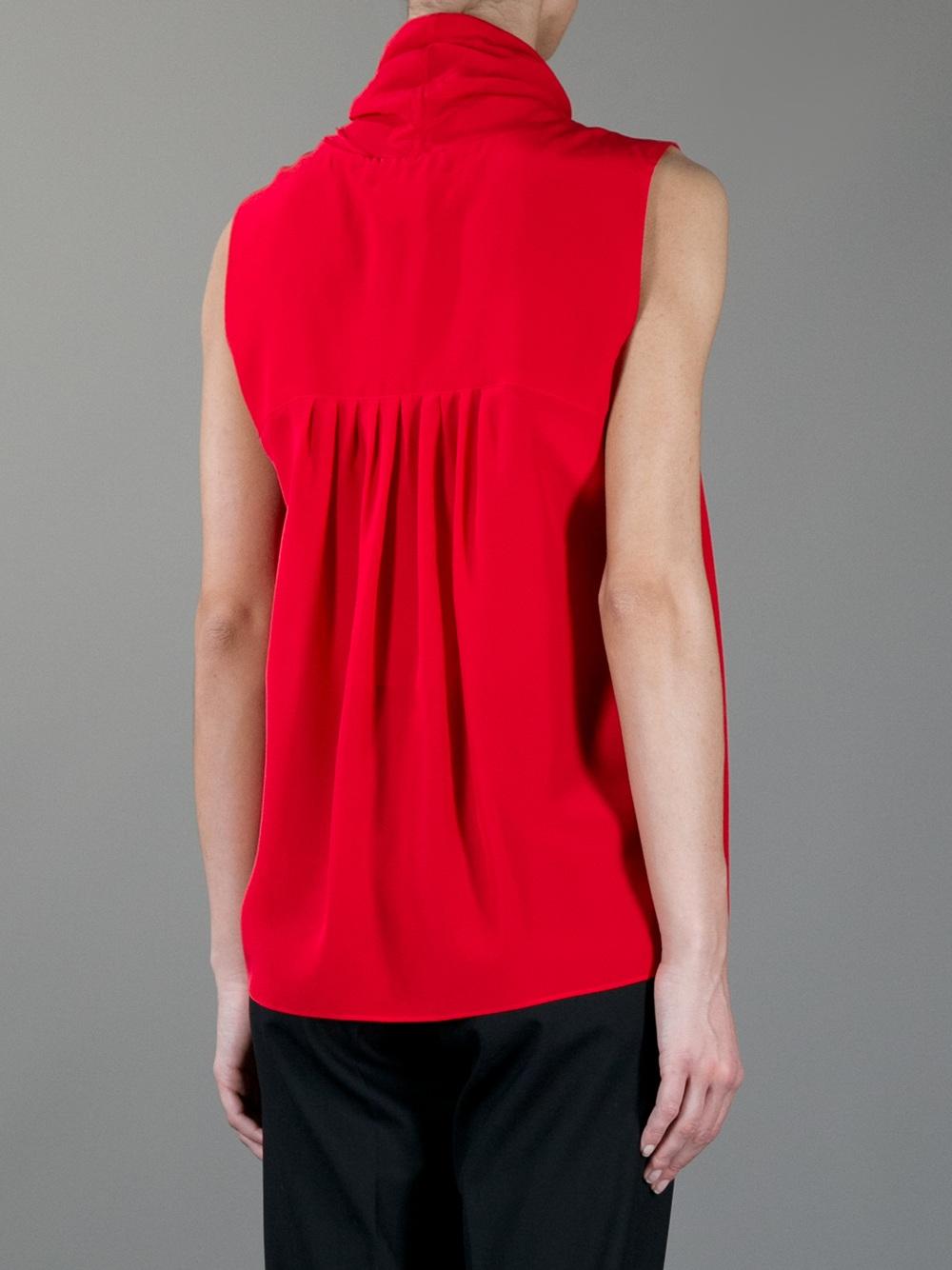 Lyst Max Mara Studio Giuda Pleated Blouse In Red