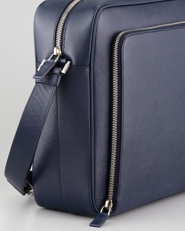 abb204062d Lyst - Prada Saffiano Ipad Messenger Bag in Blue for Men
