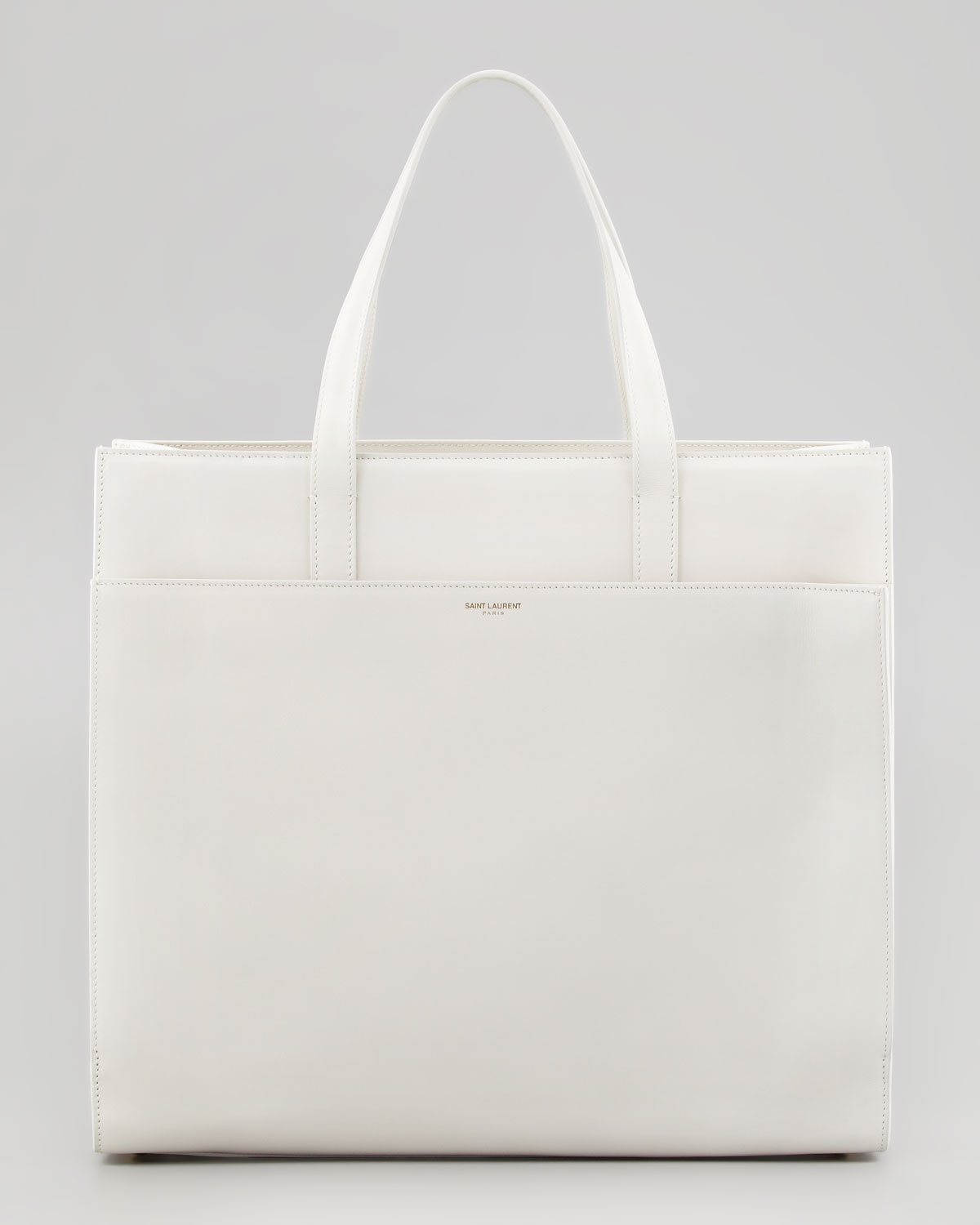 f5afe63d8a Saint Laurent White Flat Shopping Tote Bag