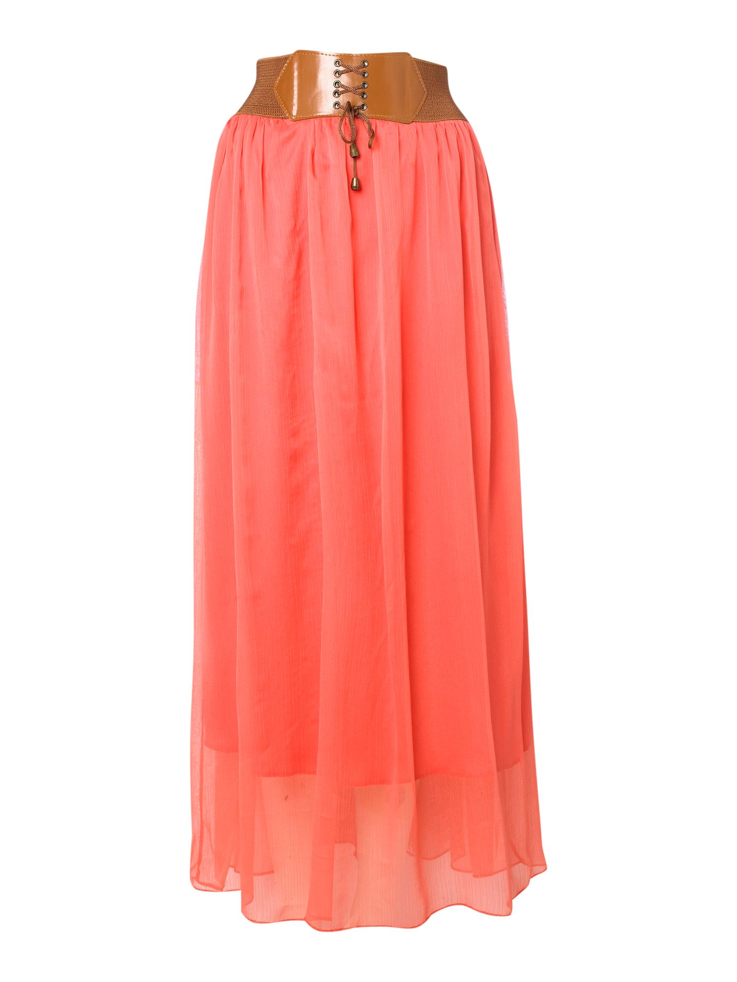 sodamix belted waist boho maxi skirt in pink coral lyst